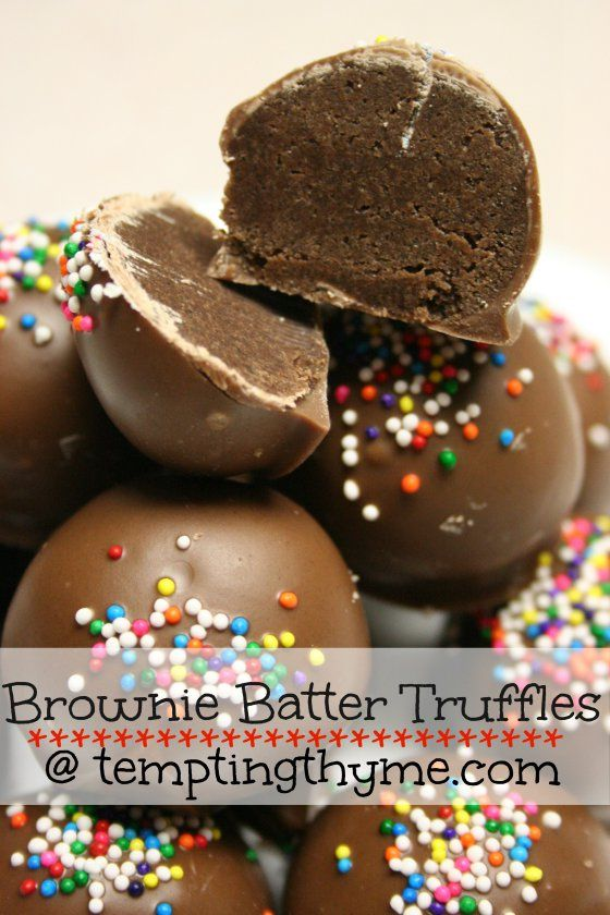 Brownie Batter Truffles. Should be good...the cake batter truffles turned out well!