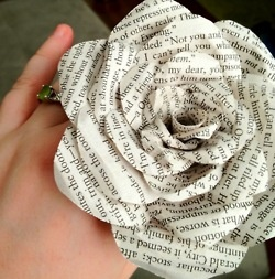 paper roses! Husband's anniversary gift to me. Made with pages from our favorite love story <3