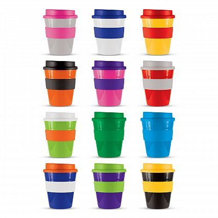 Description Reusable 350ml coffee cup with a heat resistant silicon band and screw on lid. Manufactured from tough BPA free,food grade polypropylene which is dishwasher safe. Design your own Express Cup with 1728 different colour combinations available ex stock. Colours Mix n Match Grey White Yellow Orange Pink Red Bright Green Green Light Blue Dark Blue Purple Black Dimensions Dia 91 mm x H 117 mm.
