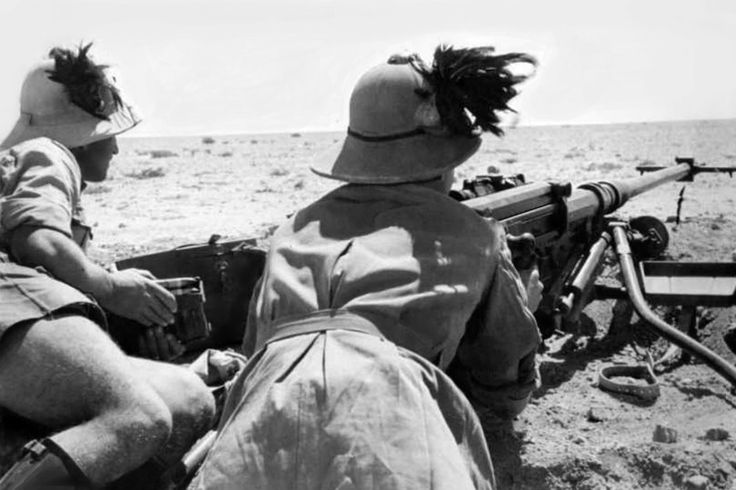 Italian Bersaglieri (light infantry marksmen) man a German anti-tank rifle. The First Battle of El Alamein (1 - 27 July 1942) was a battle of the Western Desert Campaign fought between Axis Italian and German forces and Allied forces (specifically British Imperial forces), (Britain, India, Australia, South Africa and New Zealand) of the British Eighth Army.