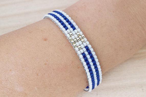 Marine style loom beaded bracelet with anchor Nautical blue &