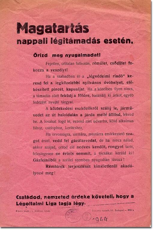 1944 air raid precaution leaflet from Hungary