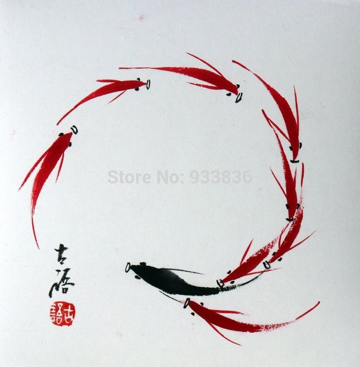 "Chinois peinture abstraite rouge poissons carpes koï 6.7 x 6.7 "" original brosse encre asiatique petite feng shui art(China (Mainland))"
