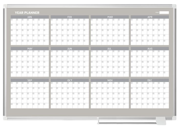 12 Month Calendar Magnetic Wall Mounted Whiteboard, 3' x 4'