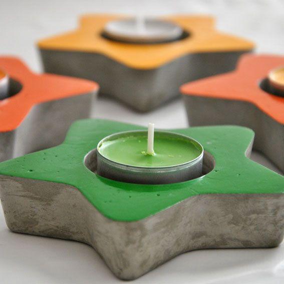 Porta Velas Estrella de Cemento por MicaRicaShop en Etsy, €6.00 #concrete #concreto #cemento