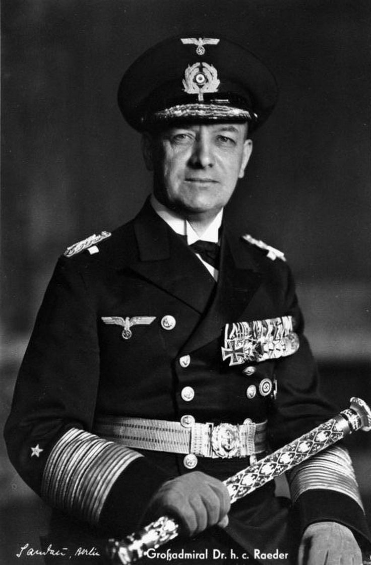 """Erich Raeder(1876-1960) attained the rank ofGroßadmiral(Grand Admiral) in 1939, becoming the first person to hold that rank sinceAlfred von Tirpitz. Raeder led the Kriegsmarinefor the first half of the war, but he resigned in 1943 and was replaced byKarl Dönitz. He was sentenced tolife in prisonat theNuremberg, but was released early due to failing health. He is also well known for dismissingReinhard Heydrich from the Navy in April 1931 for """"conduct unbecoming an officer and a…"""