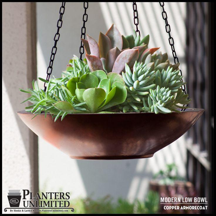 Modern Low Bowl Copper Hanging Basket