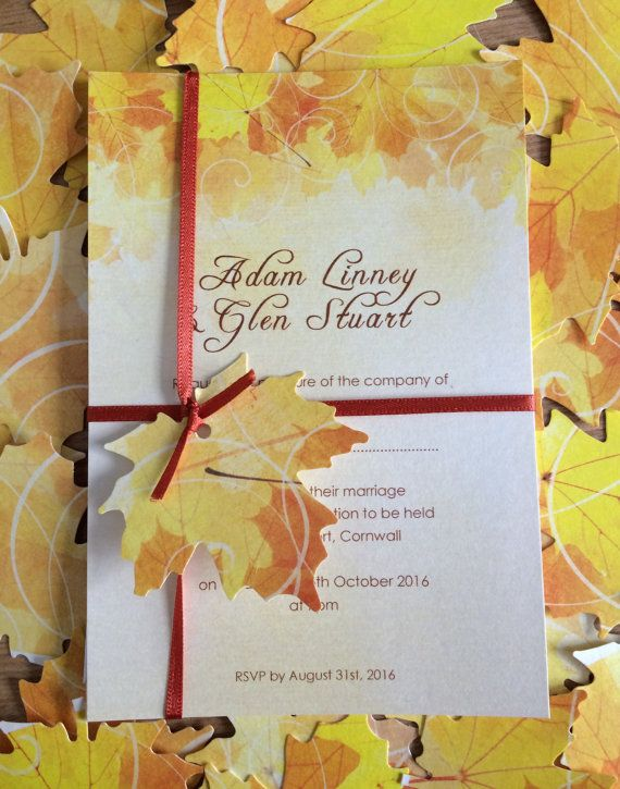 Fall wedding invitation  beautiful Autumn by PickledeggDesign