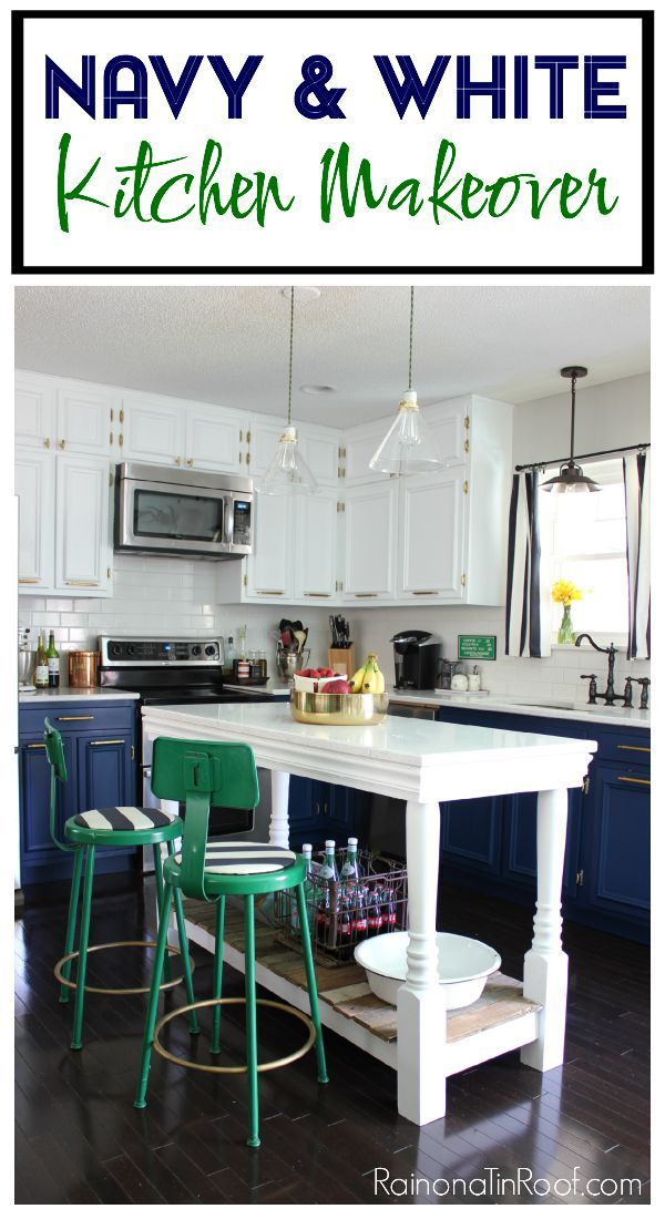 Kitchen Makeover: Modern Kitchen • Navy & White Painted Cabinets • DIY Island • Kelly Green and Brass Accents