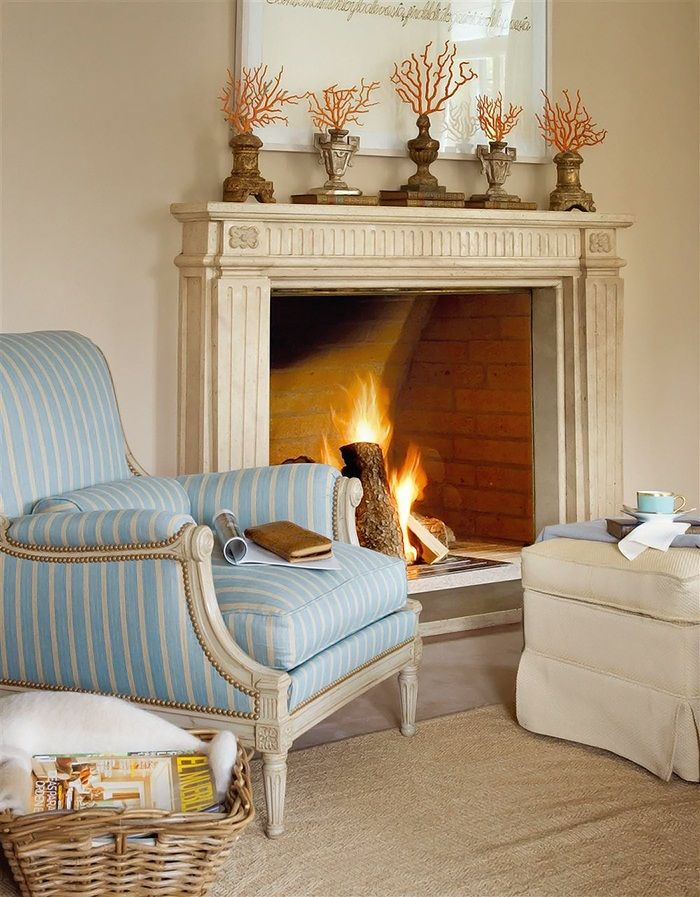 I love the neutral and blue combination in this house