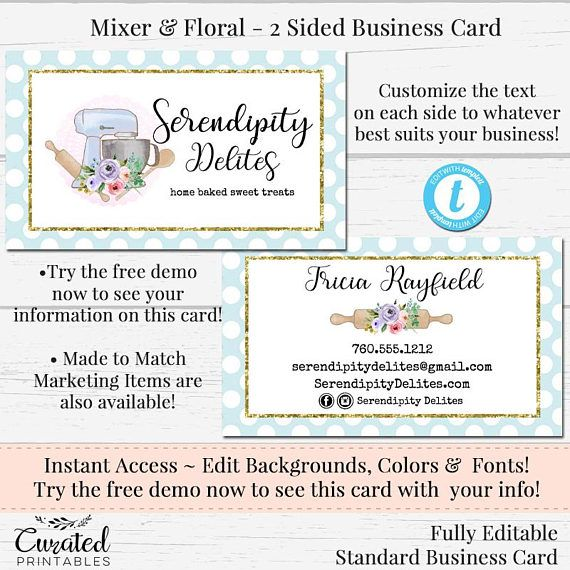 Baking Business Card Watercolor Card Cookie Card Template Etsy Business Cards Watercolor Baking Business Cards Diy Business Cards