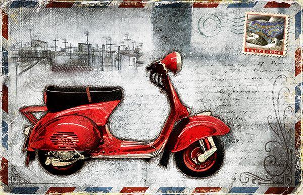 JF_0077_GR1 Cuadro Vespa Roja _ Postal Barcelona Vintage Blanco
