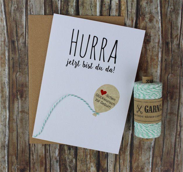 Süße Glückwunschkarte zur Geburt eines kleinen Mädchens oder Jungen mit Ballondesign in Craftpaper-Optik. Dazu erhaltet ihr farblich das passendes Garn von Garn&mehr zum Verpacken oder Dekorieren...