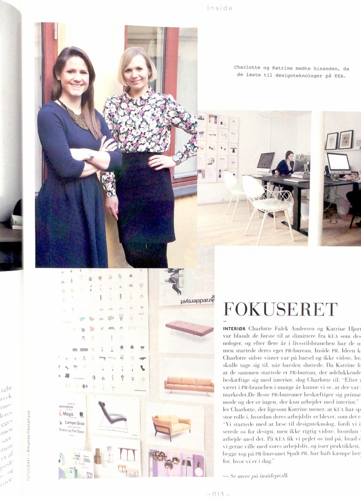 Featured in the magazine KEA REPORTS from May. An article about the founders of Inside PR, Katrine and Charlotte and how they met.