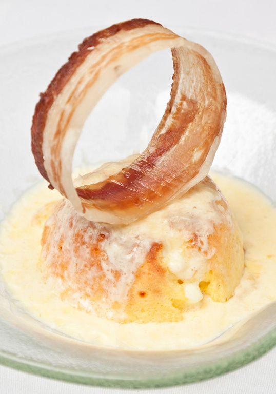 Galton Blackiston delights with this visually impressive dish. The soufflé recipe contains salty bacon beautifully offsetting the creamy, nutty Gruyère cheese.