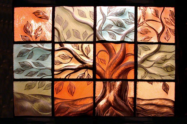 Tree on tiles decorative tile handmade tile wall art for Art deco tile mural