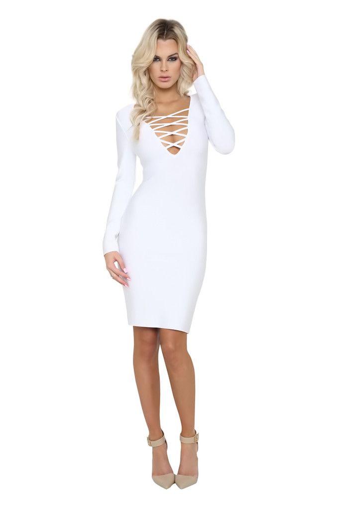 Olivia White Long Sleeve Criss Cross Bandage Dress