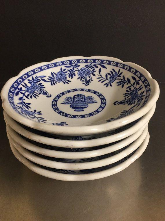 Vintage Restaurant Ware Diner Bowls Set 6 Jackson China | Delft Blue Asian Style | Mid Century Dinnerware | Chinese Restaurant | Soup Bowls & 115 best Vintage dinnerware images on Pinterest | Vintage dinnerware ...
