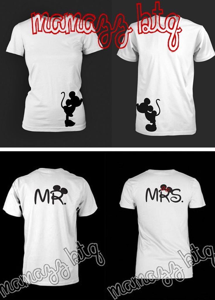 disney mickey and minnie mouse mr. and mrs. shirts for the honeymoon