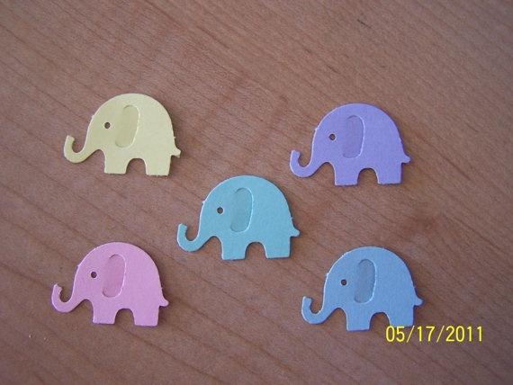50 Pastel Elephant Die Cuts Punch Cutout by HeatherleasCrafts