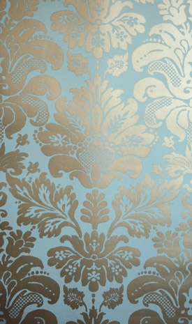 blue silver wallpaper (this is almost exactly my new wallpaper for the powder bath!)