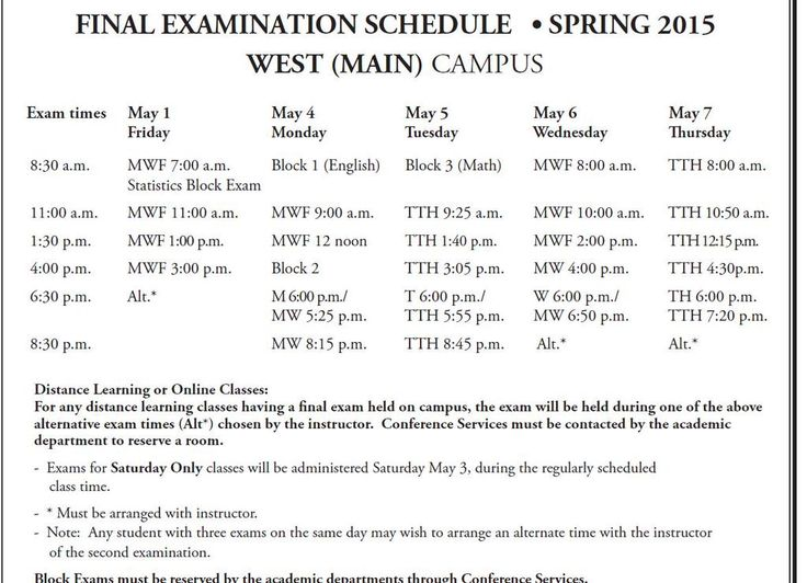 The Final Exam Schedule for Spring 2015 Semester