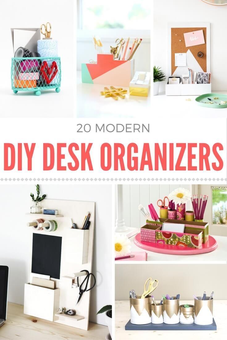 Make A Diy Desk Organizer On A Budget Mod Podge Rocks Desk Organization Diy Diy Desk Decor Diy Desk
