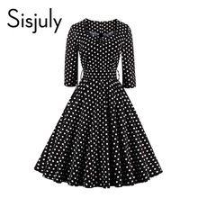 Sisjuly estilo vintage vestido negro del partido del lunar vestidos de un línea 1950 s retro rockabilly pin up vestido 2017 de la vendimia vestido(China (Mainland))
