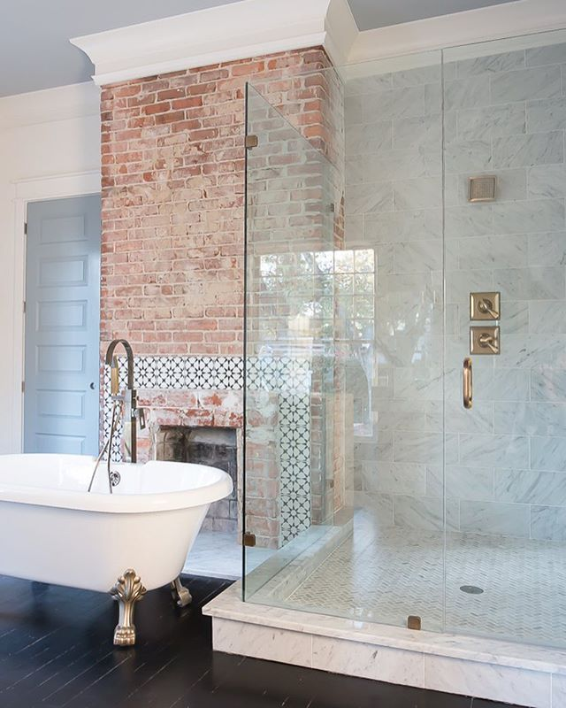 10 best brick tiles in bathrooms images on pinterest brick bathroom bathroom and bathroom. Black Bedroom Furniture Sets. Home Design Ideas