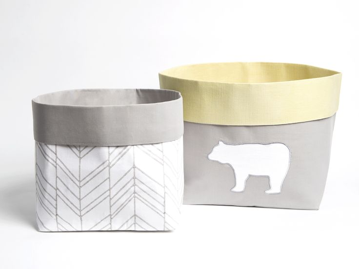 Curious Bear - Fabric Storage Baskets, Nursery Storage Baskets, Storage Baskets, Canvas Storage Baskets, Baby Baskets, Nursery Baskets