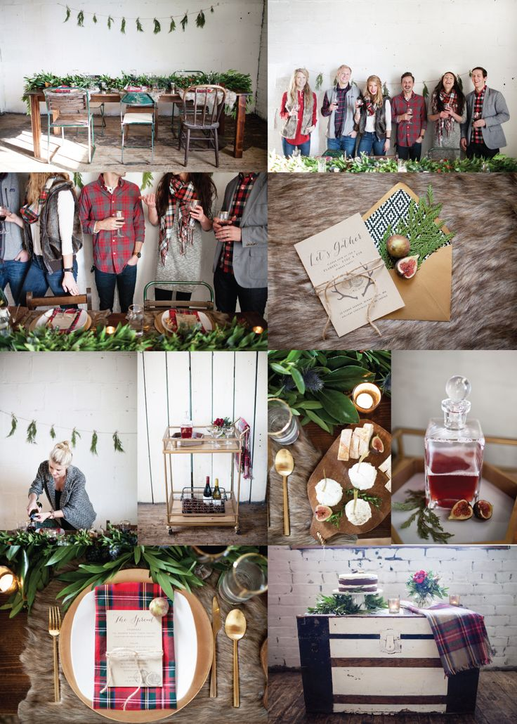 Menu + invite design for Flannel, Figs & Fur Winter Party incorporating plaid, fur and fresh greenery by Randi King Design