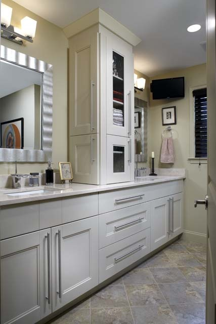 Countertop Linen Cabinet : this whole house renovation features tile floors, quartz countertops ...