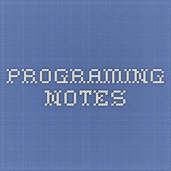 programing notes