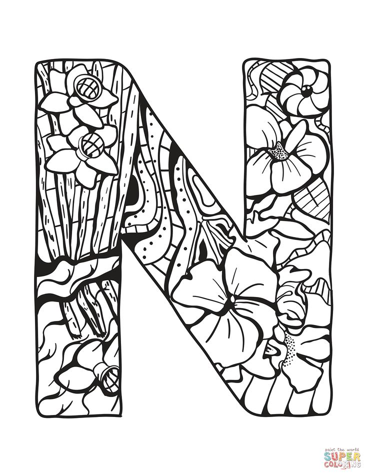 letter n zentangle coloring page | free printable coloring