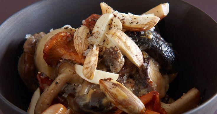 Kejserhatte, kantareller, shitake, bøgehatte og karljohan. Efteråret er svampetid, så fråds i dem med denne enkle salat, hvor de er kogt cremede i fløde og dijonsennep.