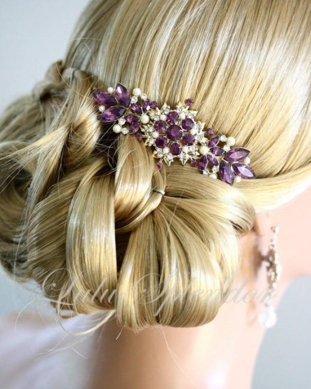 Vintage Bridal Comb Amethyst Wedding Hair Comb by LuluSplendor