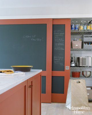 chalkboard sliding doors in the kitchen