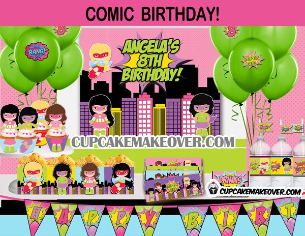 Comic Superhero Girls Party Package