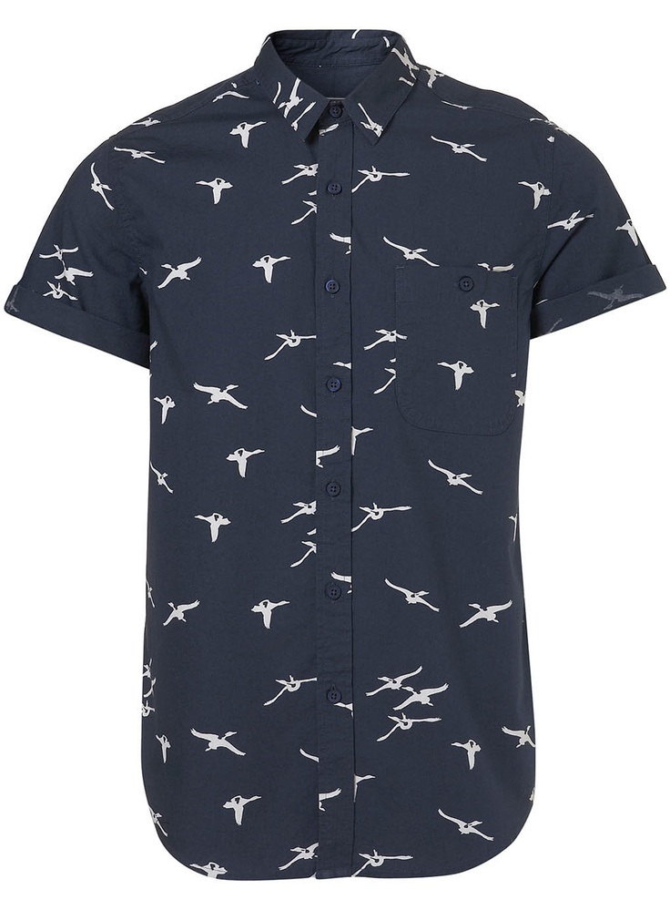 Navy short sleeve shirt with jumbo flying geese print