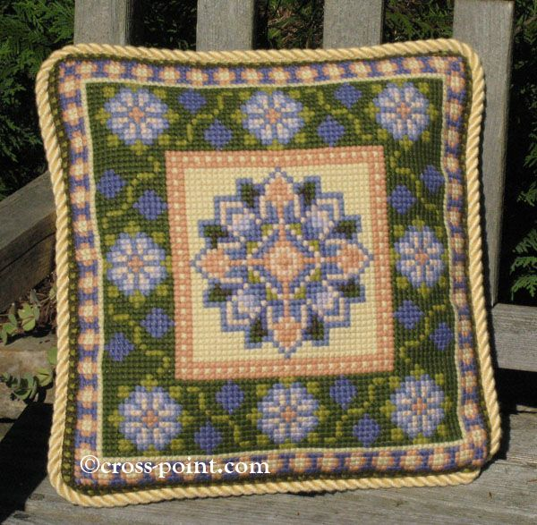 Small Moghul accent pillow in purple blues, grass green, peach, buttery yellow (#MOGSM-01) in the cross-point kit collection