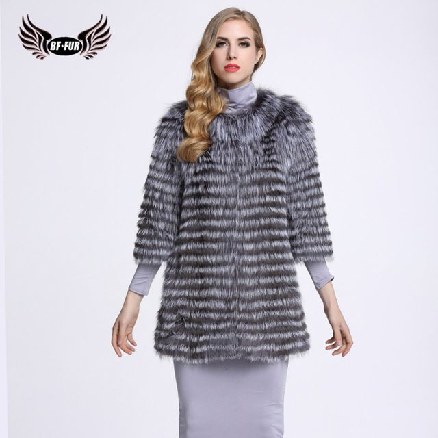 BF FUR Fashion Real Natural Fur Coat Genuine Silver Fox Real Fur Coats For Women Fur Winter Outerwear Slim Stripe Coat BF-C0006 US $350.00-491.0 To Buy Or See Another Product Click On This Link  http://goo.gl/yekAoR