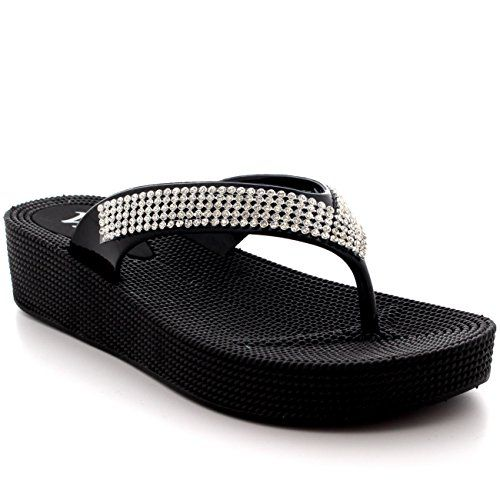 Womens Diamante Holiday Sandals Thong Jelly Beach Wedge Heel Flip Flops  Black  US7EU38  PN0001 ** Learn more by visiting the image link.