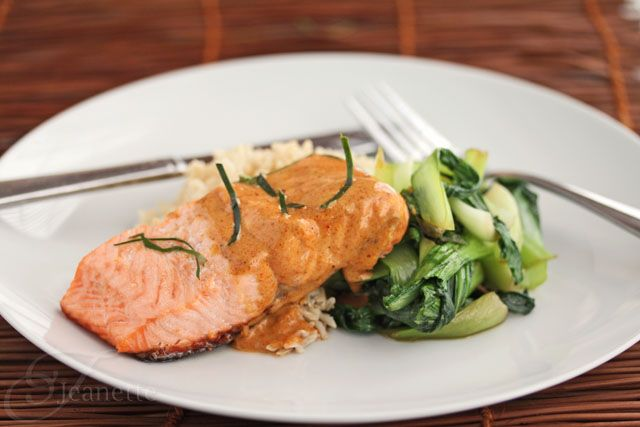 Grilled Salmon with Thai Coconut Curry Sauce by @Jeanette | Jeanette's Healthy Living