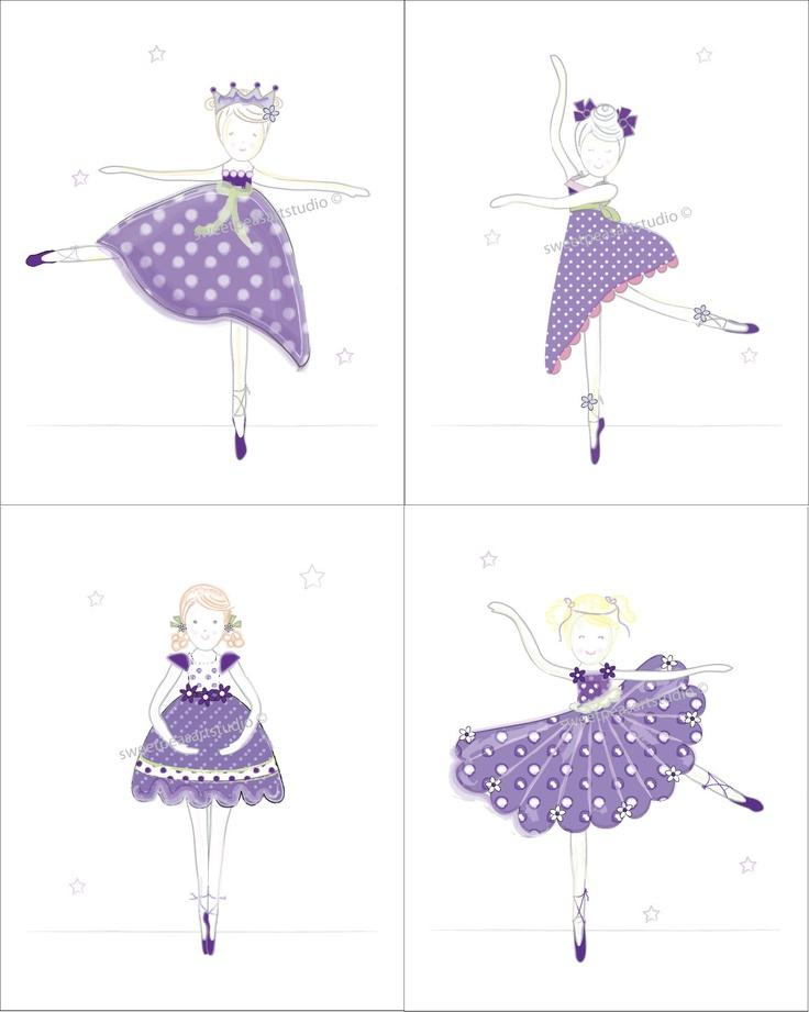 Ballerina Ballet Purple Art Prints for by sweetpeasartstudio2, $20.99