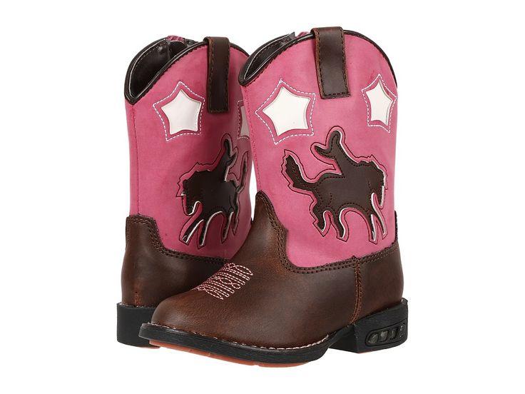 Roper Kids Western Lights Cowboy Boots (Toddler) Cowboy Boots Brown/Pink