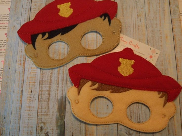 Boy or Girl Firefighter felt mask for dress up or Halloween Costume Pretend Play Imagination Education party favor - gypsy spoonful