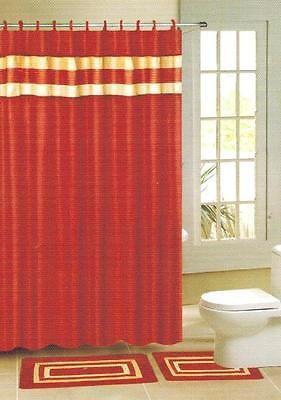 15pc Rust Orange Stripe Bathroom Bath Mat Set Carpet Contour Shower Curtain Hook