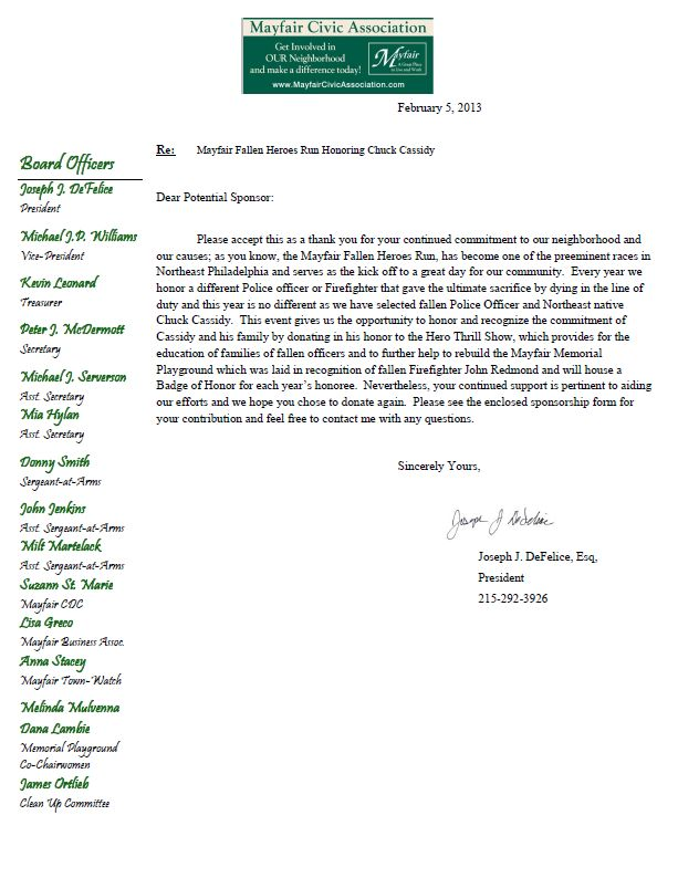 mayfair civic association fallen heroes run thank you letter from youth athletes sponsorship sample