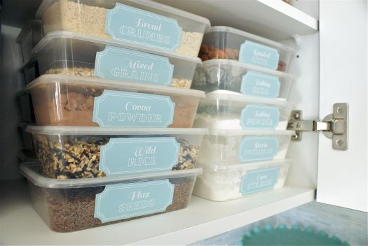 Pantry organizing ideas - stack thin containers and fit more stuff!