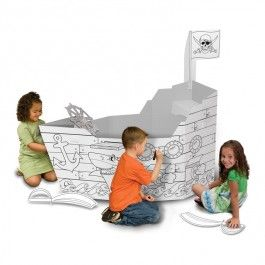 Giant Coloring Pirate Ship  $26.97 This amazing giant pirate ship is an awesome party coloring activity at your next kids pirate party, or terrific pirate craft for a sleepover with the friends, or just a unique kids craft for the creative mood.  http://www.educationaltoysplanet.com/giant-coloring-pirate-ship.html